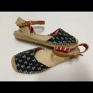 Sperry 7.5 Hope nautical Espadrilles Navy Anchors